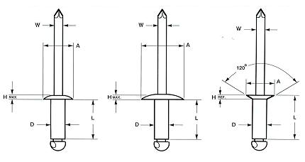 Zinc Plated Steel Open End Blind Rivet with Steel Break Pull Mandrel Dome Head 0.450 Length Pack of 250 3//16 Diameter Meets IFI-114 Grade 30 0.188-0.250 Grip Range