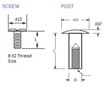 Aluminum Posts & Screws | Aluminum Chicago Screws | Jay-Cee